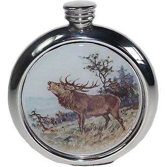 6Oz Round Stag Pewter Picture Flask