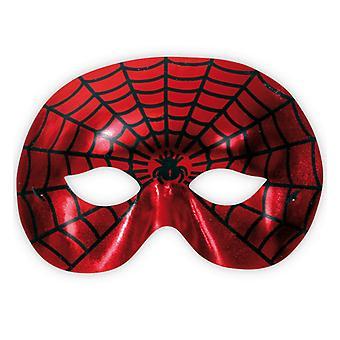 蜘蛛战士红色多米诺骨牌面具蜘蛛网图案眼罩配件