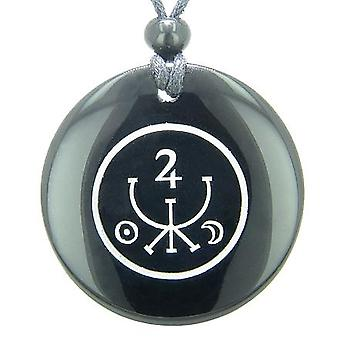 宇宙古代金印章お守りブラックオニキス魔法宝石円精神的なペンダント ネックレス