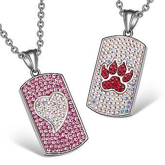 Sydän suden käpälä Itävallan kristalli, rakas parit parhaat ystävät koira tunnisteen vaaleanpunainen valkoinen Cherry Red kaulakorut