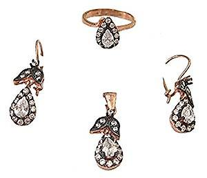 Antique rose gold plated jewellery set necklace, earrings and pendant