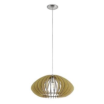 Eglo Cossano Modern Maple Wood Pendant Saucer Lamp