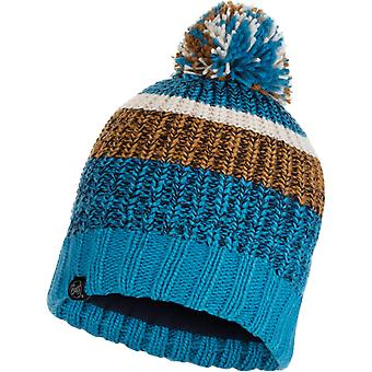 Buff Stig Knitted Bobble Hat in Teal Blue