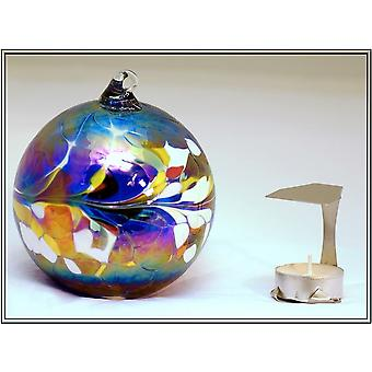 Milford Collection Hanging Glass Tealight Holder - Blue