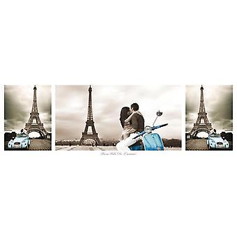 Afiches de París - collage triptyque de Torre Eiffel Paris Ville de L'Amour-pequeño formato T rposter