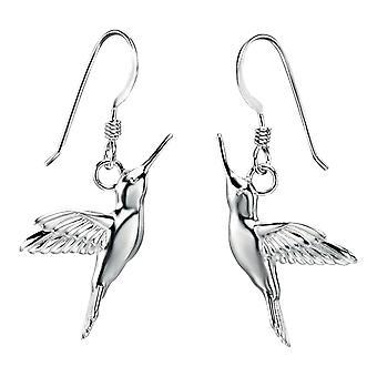 Elemente Silber Kolibri Tropfen Ohrringe - Silber