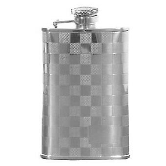 David Van Hagen 3.5oz Stainless Steel Chequered Hip Flask with Engraving Space - Silver