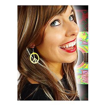 Schmuck und krönt Frieden Ohrringe gelb fluoreszierend