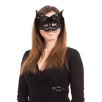 Kat + zwart Marabou veren trim, op glazen Frame