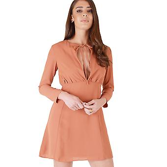 WYLDR Burnt Orange A-Line Dress With V-Neck Tie Front
