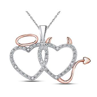 Devil Angel Heart Pendant Necklace in 14K White and Rose Pink Gold with Chain