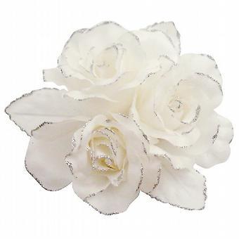 Spilla Fiore Pure White Rose Satin Handmade For Fashion Abito da sposa