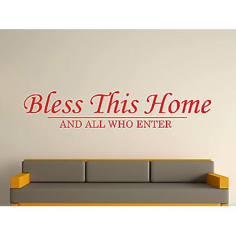 Bless This Home Wall Art Sticker - Tomato Red