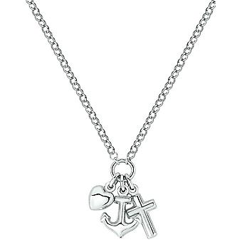 Bella Faith Hope and Charity Necklace - Silver
