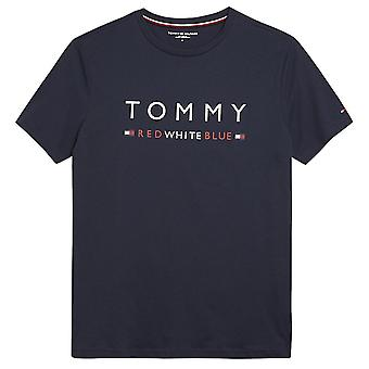 Tommy Hilfiger Organic Cotton REMIX Short Sleeved Crew Neck T-Shirt, Navy Blazer, X-Large