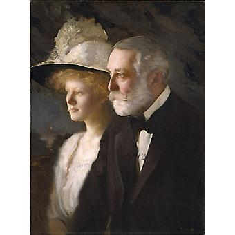 Henry Clay Frick and Daughter,Edmund Charles Tarbell,50x37cm