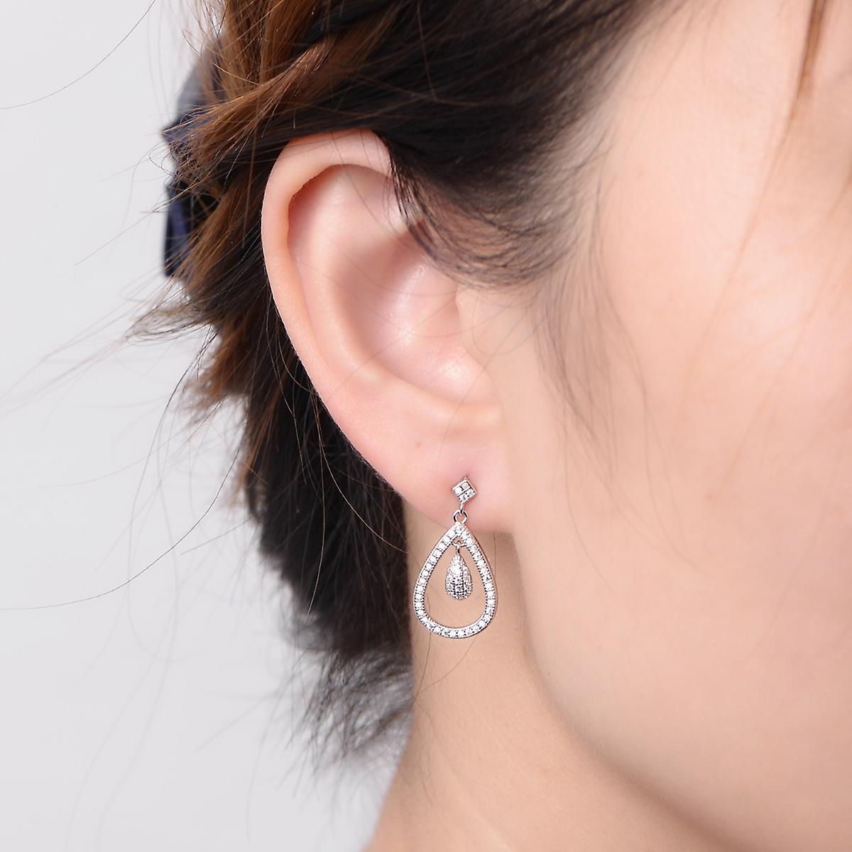 925 Sterling Silver Pave Aaaaa Cz Bridal Drop Earrings