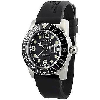 Zeno-watch reloj de cuarzo de avión diver puntos negro 6349Q-GMT-a1