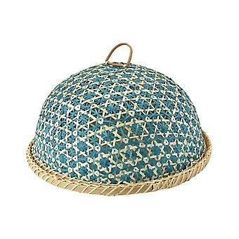 Artesanal de bambu alimentos cesta de frutas com tampa redonda cozinha de armazenamento de alimentos decorativos cover35cm