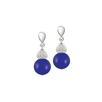 Éternelle Collection Solitaire Royal bleu perle couleur argent Drop boucles d'oreilles