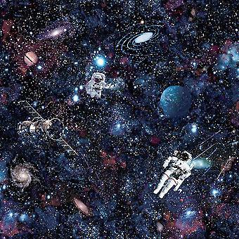 Intergalactische sterren patroon Children's wallpaper ruimte planeten astronaut Holden