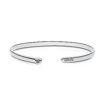 Texas A&M University Engraved Sterling Silver White Sapphire Cuff Bracelet