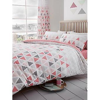 Geo Triangle King Size Duvet Cover and Pillowcase Set - Rose