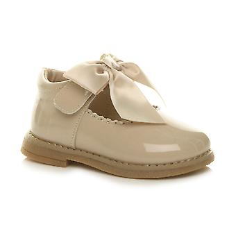Ajvani Girls infant mary jane scalloped ribbon bow shoes