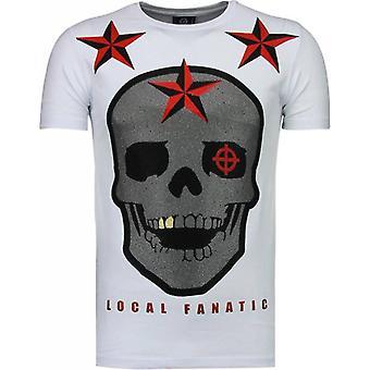 Rough Player Skull - Rhinestone T-shirt - Wit