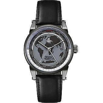Vivienne Westwood Finsbury World Black Leather Strap Unisex Watch VV065MBKBK