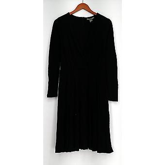 Kate & Mallory Dress Lg Sleeve V-Neck w/ Gather Front Detail Black A430988