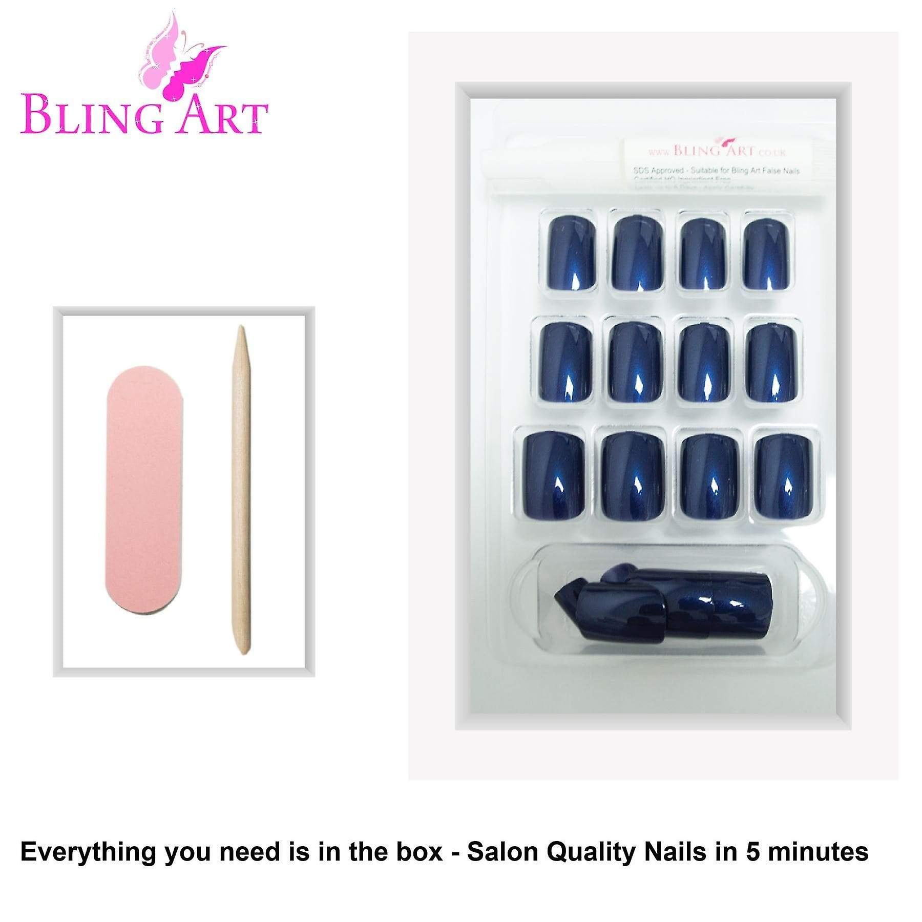 False nails by bling art blue glitter french squoval 24 fake medium acrylic tips