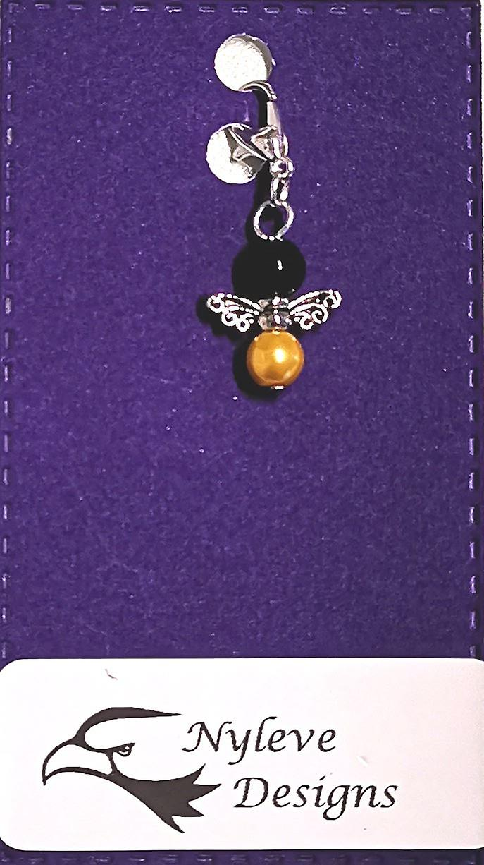 Nyleve Designs handmade Clip-on Silver-plated Bee Charm
