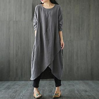 Langarm Casual Oversize langes Kleid