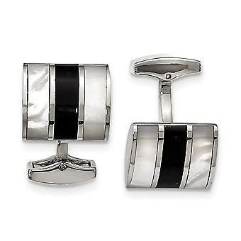 Stainless Steel Polished Black Semi precious Stone and Simulated Mother of Pearl Cuff Links Jewelry Gifts for Men