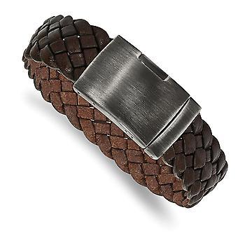 23,81 mm Edelstahl poliert Graviravable gebürstet braun geflochtenleder Armband 9 Zoll Schmuck Geschenke für Frauen