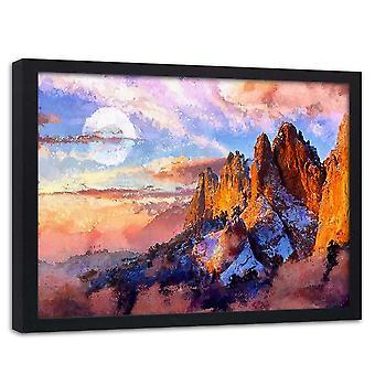 Poster in frame, zonsondergang in de bergen