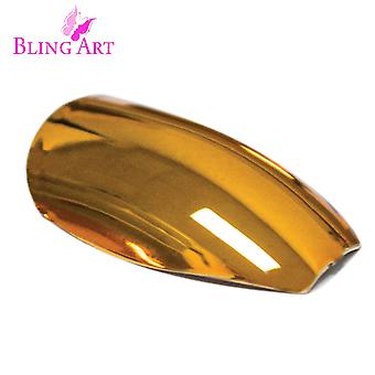 False nails by bling art gold metallic ballerina coffin acrylic long fake tips