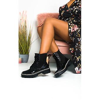 IKRUSH Womens Perry Chain Detail Lace Up Ankle Boots