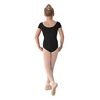 Mirella Dziewczyna's Princess Seam Cap Sleeve Dance Leotard Czarny 8-10