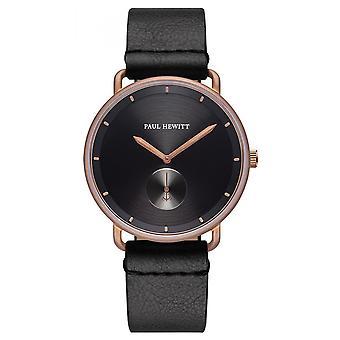 Relógio Paul Hewitt PH-BW-BRBR-BS-60M-pulseira de couro preto Bo Tier aço aço Pink Men