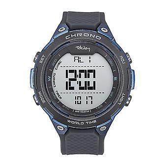 Tekday 655109 horloge-digitale multifunctionele silicone zwart en mannen blauw