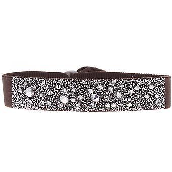Bracelet Les Interchangeables A39572 - Bracelet Tissu Marron Cristaux Swarovski Femme