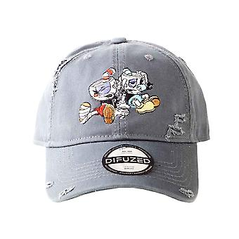 Cuphead Baseball Cap Vintage Frayed Logo new Official Grey Strapback