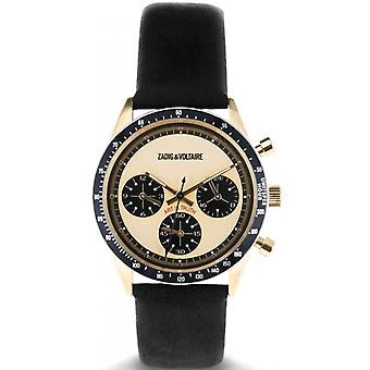 Zadig and Voltaire ZVM117 Watch - Black Leather Watch Bo tier Dor Chronograph Women