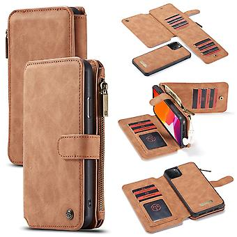 For iPhone 11 Pro Case, Wallet PU Leather Detachable Flip Cover, Brown