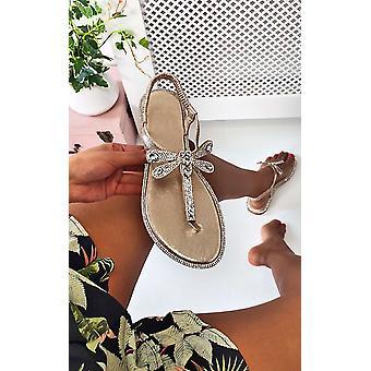IKRUSH mujeres Liliana Diamante embellecido T-Bar sandalias