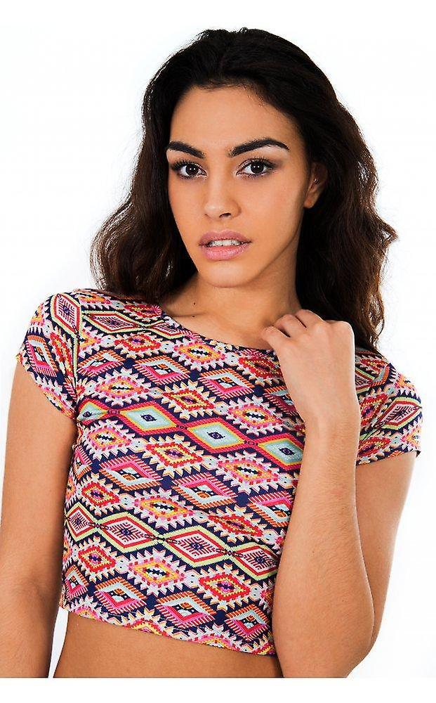 Mia Aztec Print Crop Top