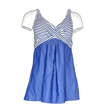 Isaac Mizrahi Live! Swimsuit Striped Swim Dress Blue A303527