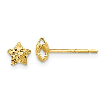14k Yellow Gold Sparkle Cut Puffed Star Post Earrings Jewelry Gifts for Women